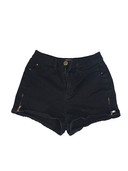Black Denim Zipper Shorts