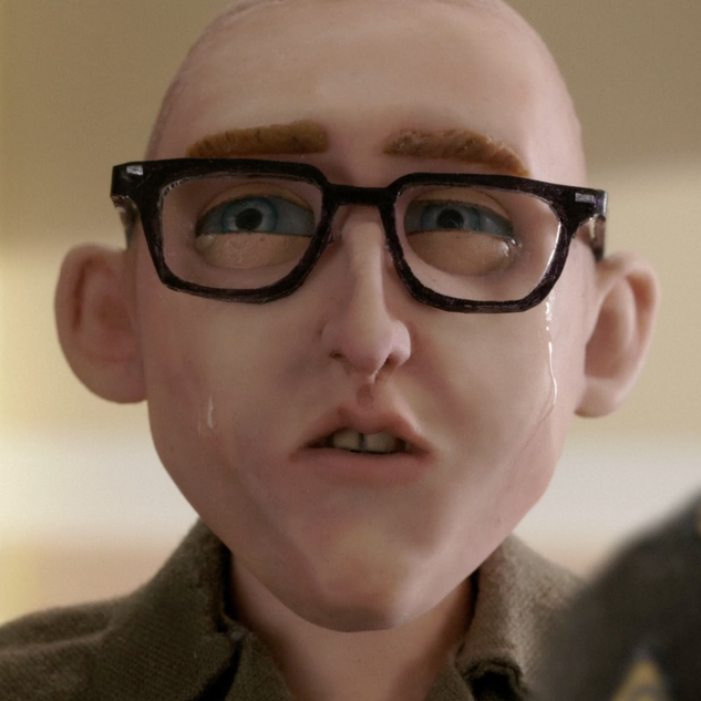 I sculpted the head for Private Pontle and made his glasses