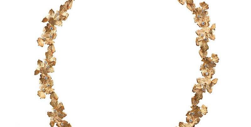 "Collier handgearbeitet, 750/Rotgold ""Dionysos"" 50 diamanten. 1,5 ct. Wsi"