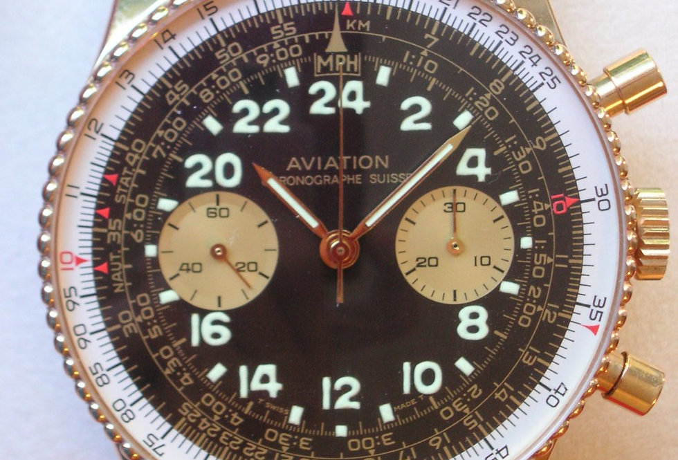 Ollech & Wajs Aviation Chrono 18kt.Gold (letztes Modell NOS)