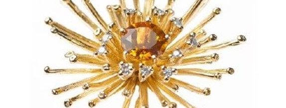 """Anhänger /750 Gelbgold """"Big Bang"""" gross 10 Brill. 0,25 ct. Wsi, 1 Madeira Citrin"""