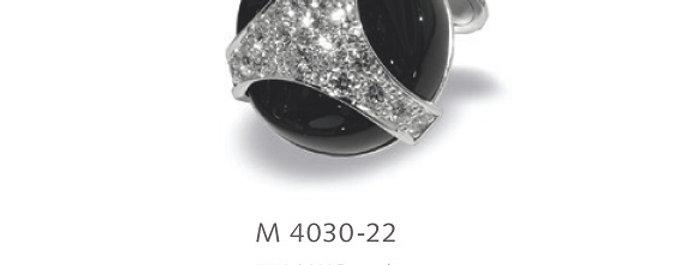1 Paar handgearbeitete Manschettenknöpfe aus 750/Weissgold, 20 mm Onix, 44 dia.