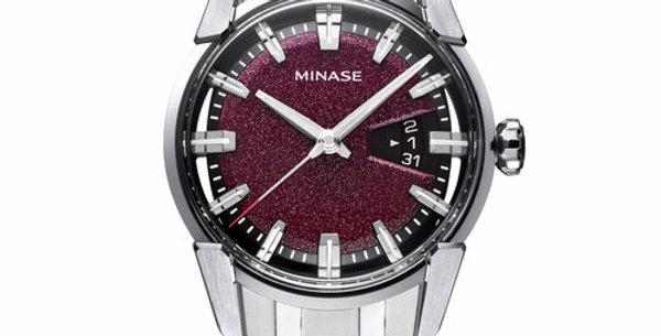 Minase Divido Deep Red Urushi Steel Bracelet