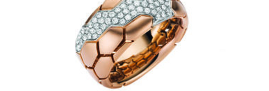 Damenring 750/Rotgold, m.Boden, matt, Steinsitz rhodiniert, 49 Brill. 0,44 ct. V