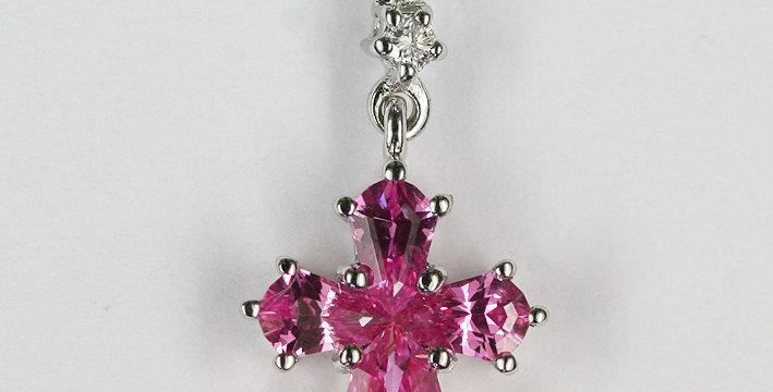 """Anhänger /750 Weissgold """"Kreuz"""" 4 geschliffene Pink Safire 0.65 ct. 1 kleiner Di"""