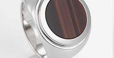 handgefertigter Herrenring /750 Weissgold, poliertes Tiegrauge rotbraun
