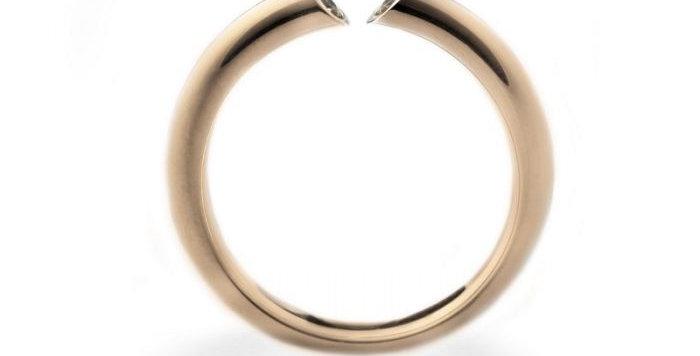 Ring DIALOG Rotgold mit 2 Brillanten zus. 0,15 ct naturfarben braun