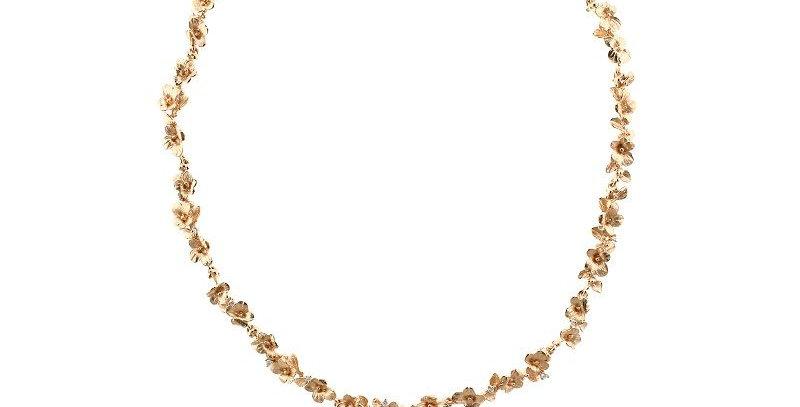 "Collier handgearbeitet, 750/Rotgold ""Florissimo"" Blüten mit kl. Brill."