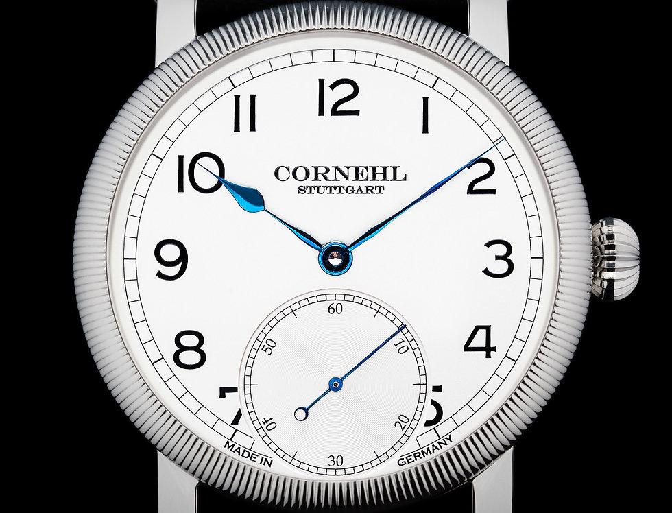 Cornehl Classic Silver gerändelte Lünette, Zwiebelkrone