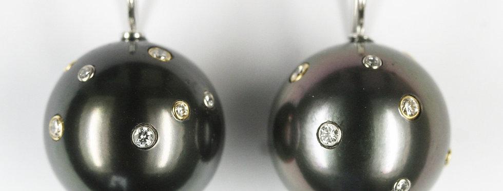 """Ohrgehänge /750 Weiss+Gelbgold, """"Milky Way"""" 2 Tahiti-Zuchtperlen 16,4/16,5 mm, 2"""