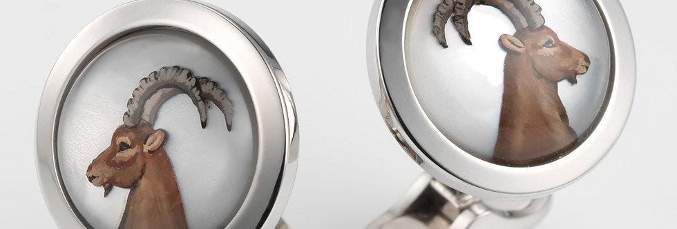 1 Paar handgearbeitete Manschettenknöpfe aus 750/Weissgold poliert, Bergkristall