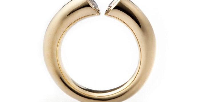 Ring DIALOG Rotgold mit 2 Brillanten zus. 0,40 ct naturfarben braun