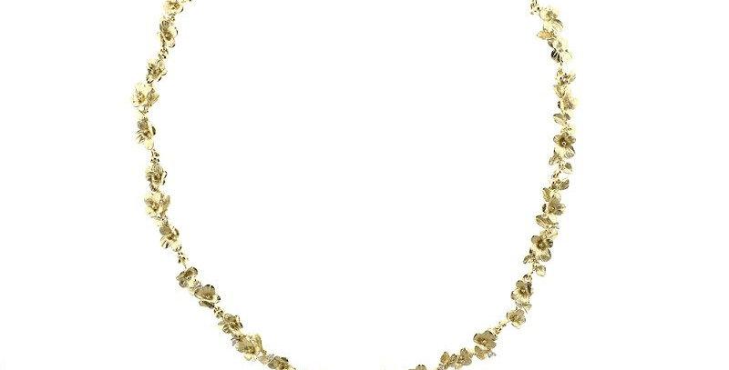 """Collier handgearbeitet, 750/Gold """"Florissimo"""" mit kleinen Brillanten in den Blüt"""