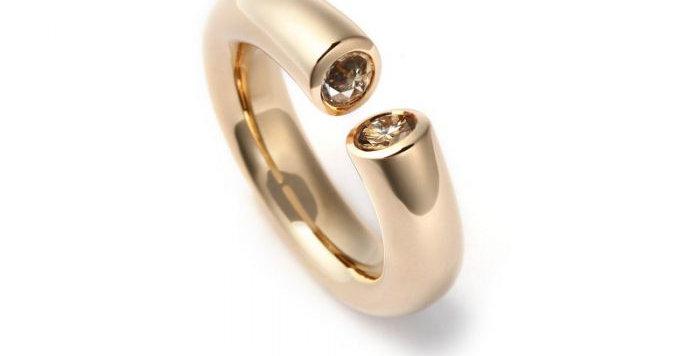 Ring DIALOG Rotgold mit 2 Brillanten zus. 0,55 ct naturfarben braun