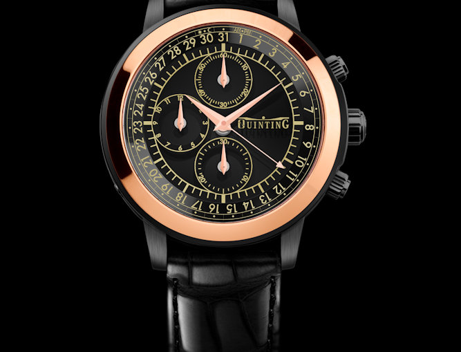 Quinting Mysterious Chronograph Black PVD / Rosegold