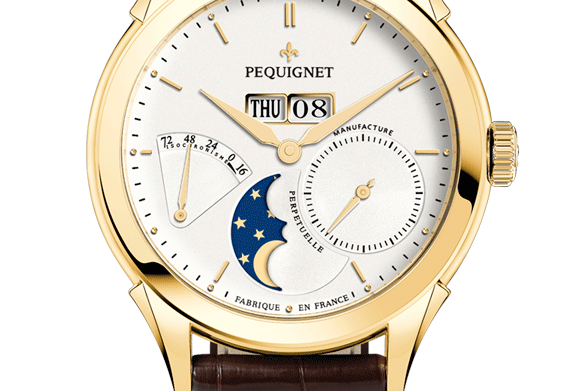 Pequignet Rue Royale Gold, Full Calendar,Moonphase