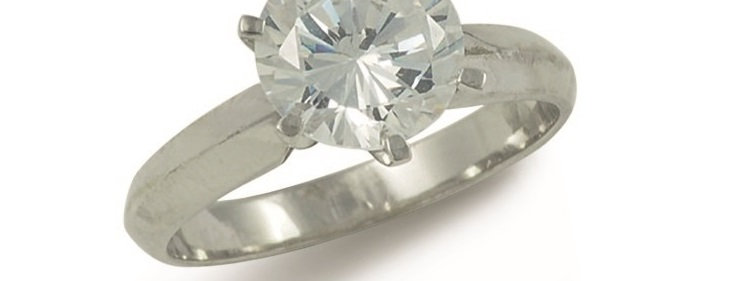 Damenring, handgefertigt, 750/ Weissgold, 1 x 2,0 ct. Qualität R/IF GIA Zertifik