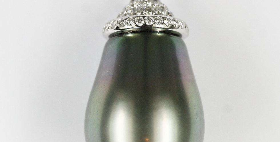 Anhänger /750 Weissgold, 1 Tahiti Zuchtperltropfen peacock 20 mm +73 Diamanten 0