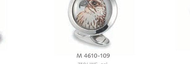 """1 Paar handgearbeitete Manschettenknöpfe aus 750/Weissgold, pol. Bergkristall """"F"""