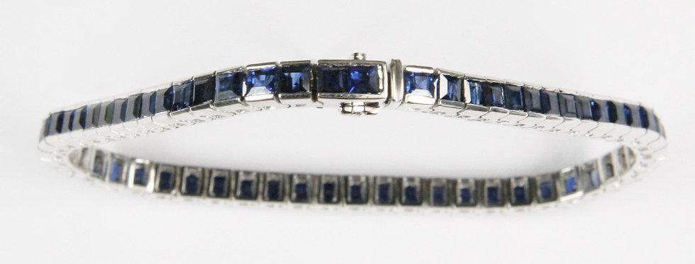 Carreé Armband 750/WG 58 Safir-Carreés 11.14 ct.