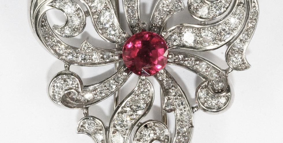 Brosche 750/ Weissgold mit Diamanten (Brill. und 8/89 1.60 ct. W/vvs, 1 Granat f