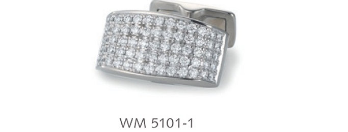 1 Paar handgearbeitete Manschettenknöpfe aus 750/Weissgold, pol. 134 Dia. á 0,01