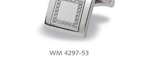 1 Paar handgearbeitete Manschettenknöpfe aus 750/Weissgold, pol. matt 48 Dia. á