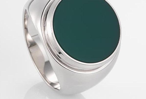 handgefertigter Herrenring /750 Weissgold, polierter, grüner Chalcedon,
