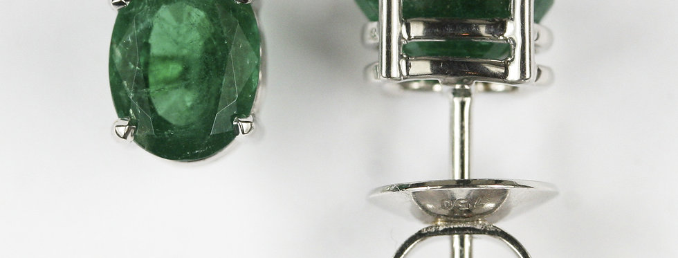 Ohrstecker /750 Weissgold, 2 ovale Smaragde facettiert, 2.21 ct. Zambia ins.vivi