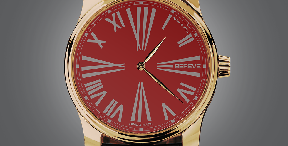 "Bereve Emperor 18km 4N Gold Red Dial ""Grand Feu black"""