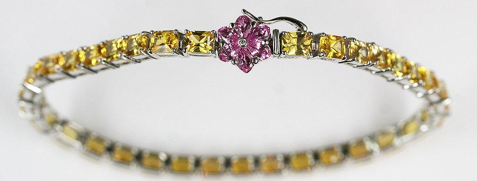 Armband 750/WG 34 fac.gelben Safiren 8-eck 18.70 ct. 6 Pink Safire, kleine Diama