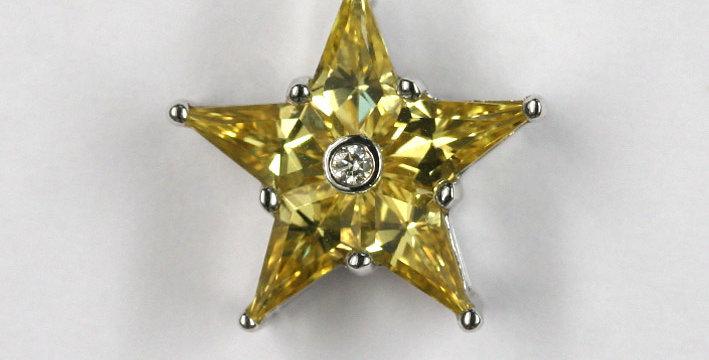 """Anhänger, ohne Schlaufe /750 Weissgold """"Stern"""" 5 eingeschliffene gelbe Safire 1."""