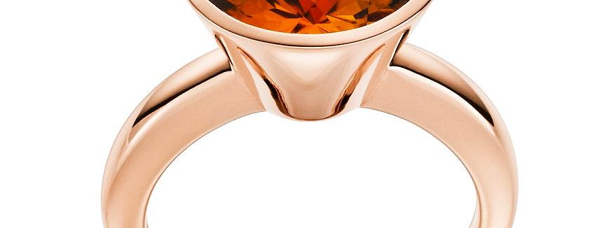 Damenring 750/ Rotgold, massiv, poliert Citrin 7,05 ct orange facettiert