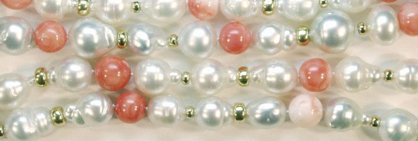 """Kette """"Perlissima"""" 750/GG 51 Südseezuchtperlen weiss 17 Korallkugeln, 34 GG Ball"""