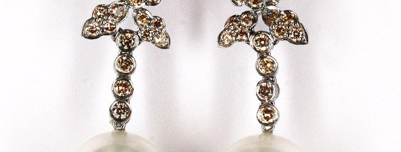 """Ohrstecker /750 Weissgold, """"Collection C Diamanten"""" 2 Südseezuchtperlen 12,1 mm,"""
