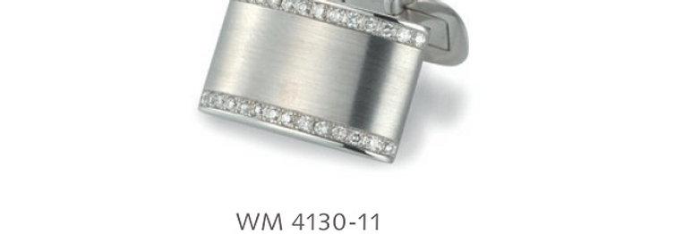 1 Paar handgearbeitete Manschettenknöpfe aus 750/Weissgold, matt, 56 Dia. á 0,01
