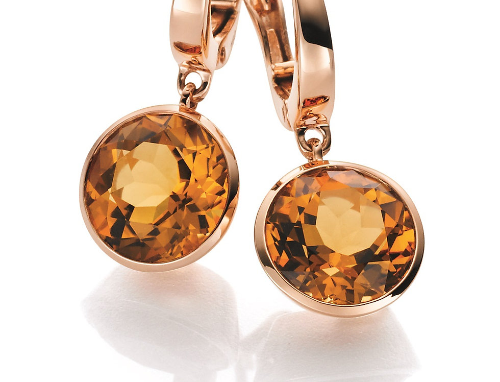 1 Paar handgefertigte Ohrringe 750/Rotgold, poliert 2 Citrin 6,0 ct. orange face