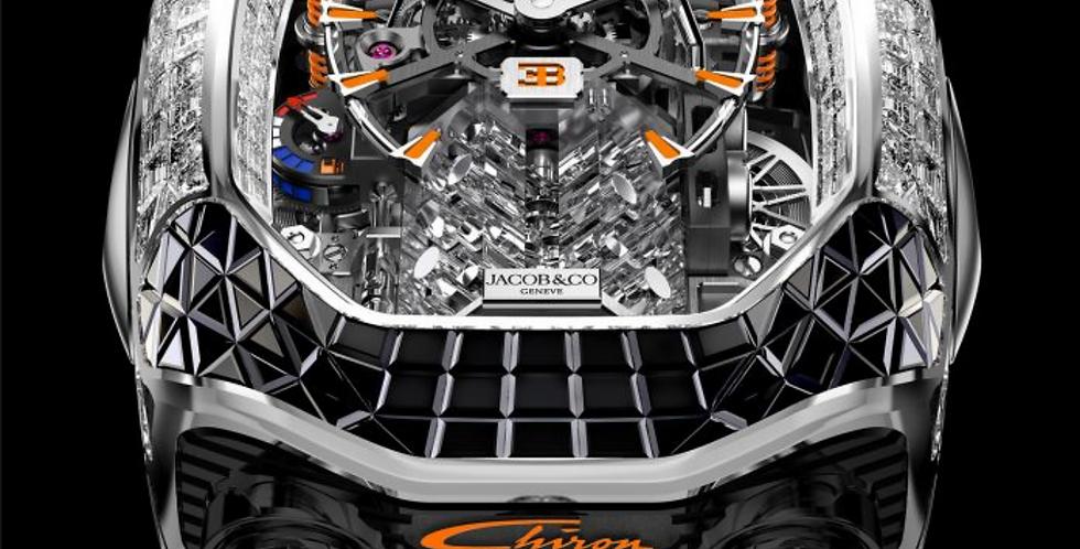 Jacob & Co. Bugatti Chiron Tourbillon Baguette Black/orange sapp. Unique piece
