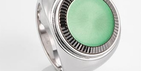handgefertigter Herrenring /750 Weissgold, diam. Sunray satin finish grün