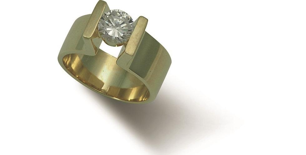 Damenring handgefertigt 750/ Gold Brillant Qualität R/IF 1, 0 ct.