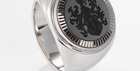 handgefertigter Herrenring /750 Weissgold, diam. Onix pol. individuelle Wappengr