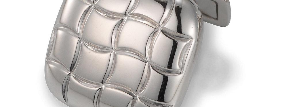 1 Paar handgearbeitete Manschettenknöpfe aus 750/Weissgold poliert