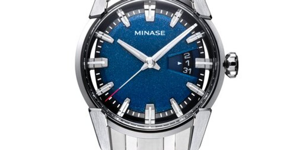 Minase Divido Deep Blue Urushi Steel Bracelet