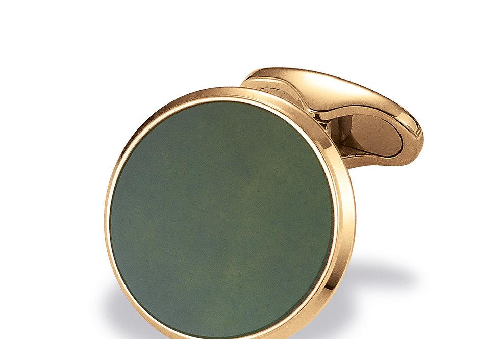 1 Paar handgearbeitete Manschettenknöpfe aus 750/Gold mit poliertem grünem Chalc