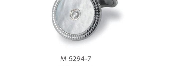 1 Paar handgearbeitete Manschettenknöpfe aus 750/Weissgold,pol, Perlmutt, 2 Dia.