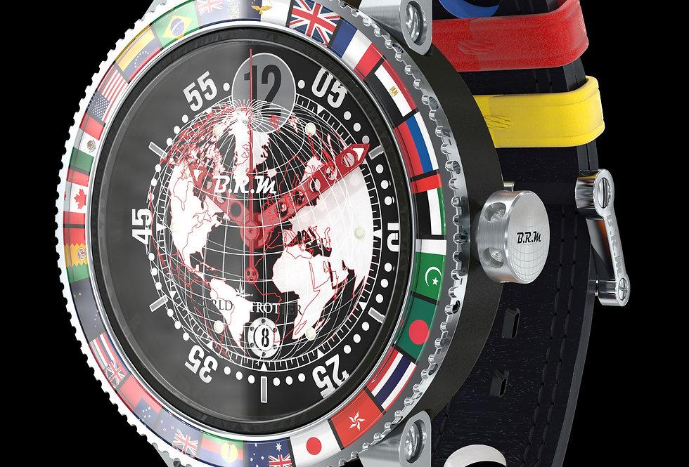 B.R.M GMT 6 World Trotter cuir noir