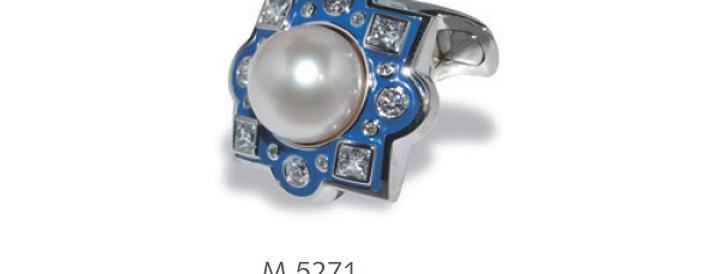 1 Paar handgearbeitete Manschettenknöpfe aus 750/Weissgold, SW-Perle, 32 dia. 1,