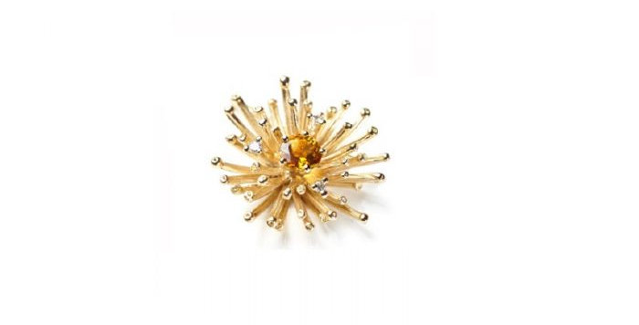 "Anhänger /750 Gelbgold ""Big Bang"" klein 3 Brill. 0,07 ct. Wsi, 1 Madeira Citrin"