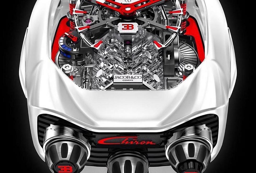 Jacob & Co. Bugatti Chiron 16-Zylinder Tourbillon, Titanium White