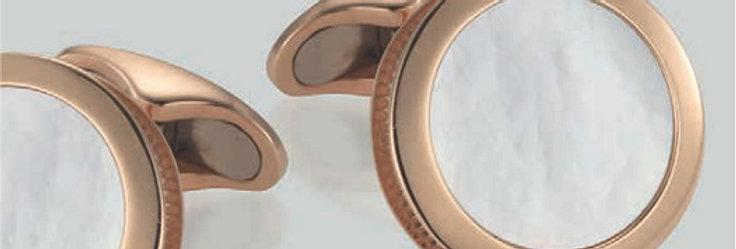 1 Paar handgearbeitete Manschettenknöpfe aus 750/Rotgold polierter weisser Perlm